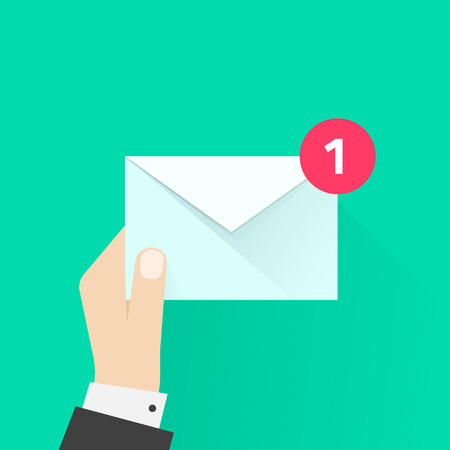 announcement icon: White envelope letter with counter notification, postman hand, concept of incoming email message, mail delivery service, newsletter announcement flat modern vector illustration design isolated