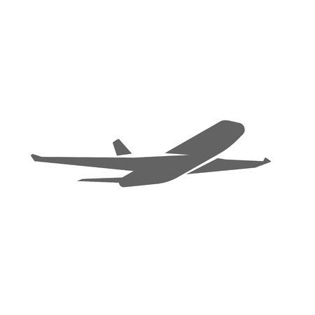 airliner: Plane taking off silhouette vector illustration, black airplane take off shape, jet airliner takeoff, plane departure modern design isolated on white background