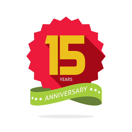 fifteenth: Years 15 anniversary vector label logo, shadow on circle, number 15, 15th years anniversary icon. Fifteen birthday party symbol. Fifteenth promotion sale sticker ribbon, poster, emblem