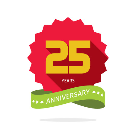 fifth: Years 25 anniversary vector label , shadow on circle, number 25, 25th years anniversary icon. Twenty fifth birthday party symbol, promotion sale sticker ribbon, poster, emblem