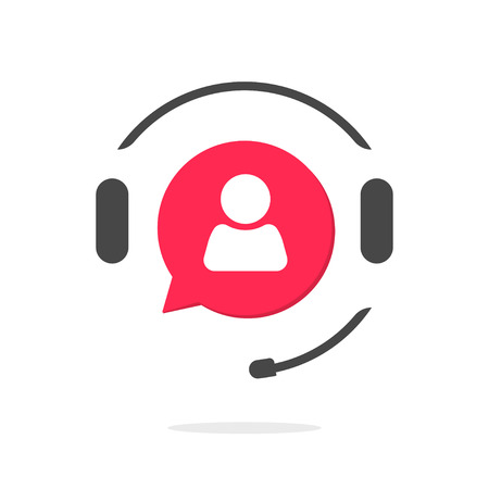 assistant: Customer support vecot icon isolated on white, phone assistant with headphones