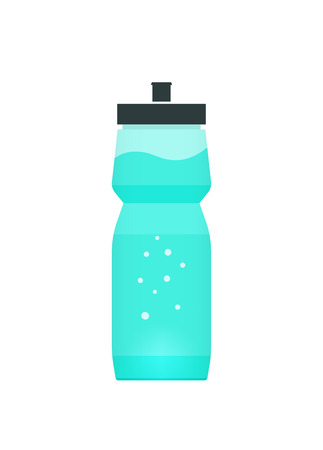 Sport bottle with blue water vector illustration, energy drink concept with babbles and water wave, sports equipment modern design isolated on white
