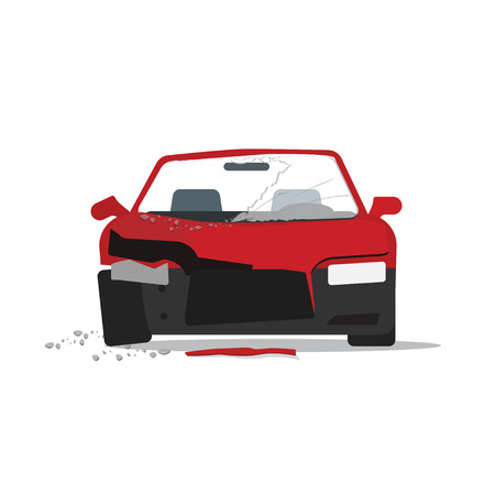 splinters: Car crush vector illustration, crashed auto fragments with glass splinters concept, disaster incident, accident, flat cartoon modern design isolated on white background