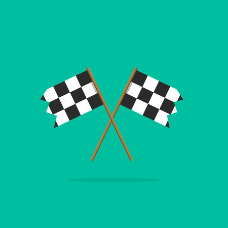 two crossed checkered flags: Finish flag vector icon, two racing finishing flags pictogram in linear outline emblem, symbol of sport competition completion, winning flat simple black and white style design isolated