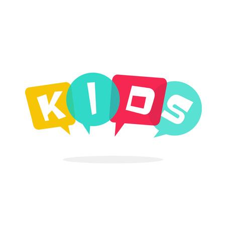 Bambini logo vettoriale isolato su bianco, simbolo di club per bambini con fumetto, concetto di ragazzi parlando, i bambini della scuola di istruzione scolastica logotipo