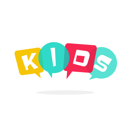 Kids vector logo isolated on white, kids club symbol with bubble speech, concept of kids talking, children education school school logotype Çizim