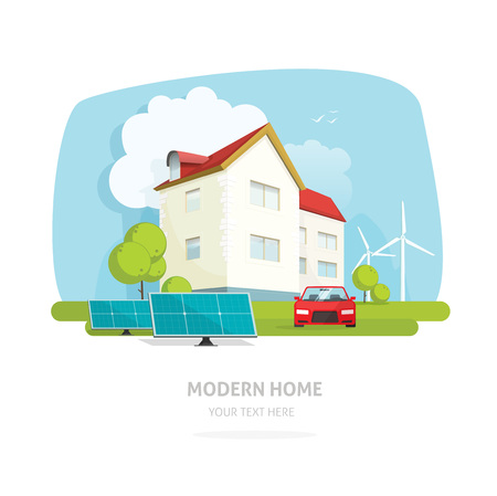 Home on nature landscape vector illustration, flat modern house technology with using wind and solar energy concept Illustration