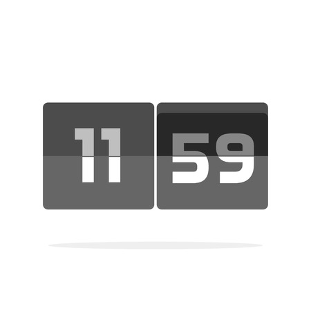 board panel: Timer counter vector icon isolated on white, countdown clock digits board panel