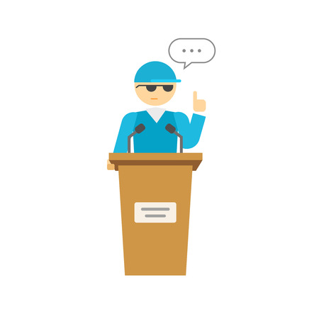 orator: Spokesman vector illustration isolated on white, flat cartoon speaker person on podium, business orator speaking, talking