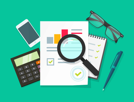 auditing: Auditor work desk, accounting paperwork, business research, financial audit, auditing tax process, report data analysis, analytics, financial research report, project desktop vector, color background