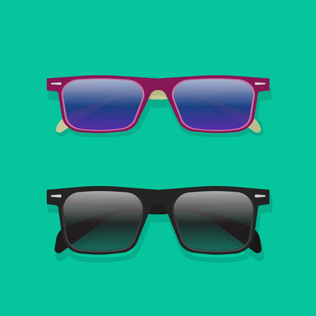 sunglasses isolated: Sunglasses isolated vector collection, flat cartoon black and violet colorful sunglasses Illustration