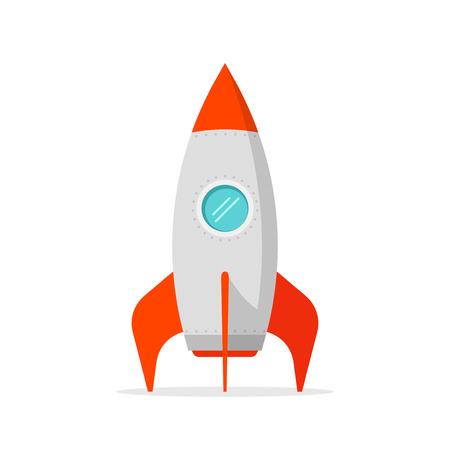 rocketship: Rocket ship vector illustration isolated on white, flat cartoon rocket standing