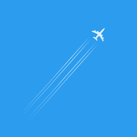 vapor trail: Flying plane silhouette isolated in blue sky, white plane shape with trails vector illustration
