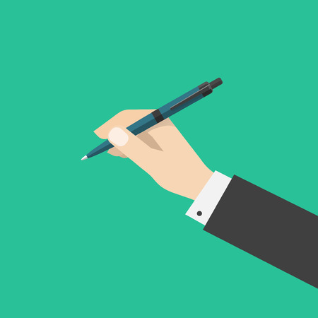 hand pen: Hand holding pen isolated on green color background, flat cartoon hand with ballpoint pen Illustration