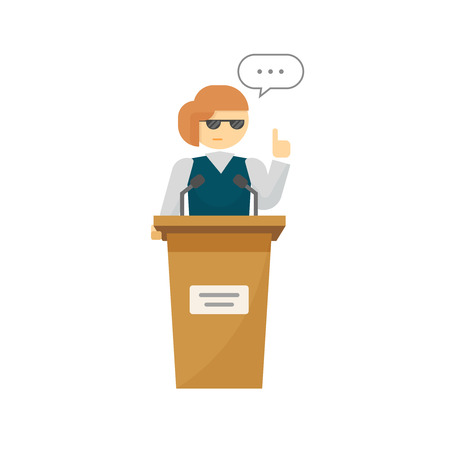 orator: Spokeswoman on podium vector isolated on white background, flat cartoon woman speaker person on tribune, business orator speaking, talking, concept of conference, lecturer, leader, politician debate Illustration