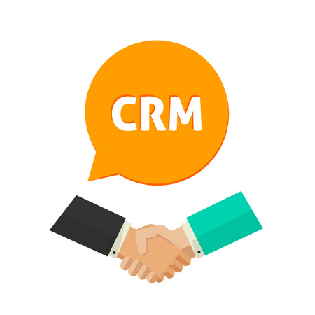 CRM vector icon, customer relationship management label, shaking hands sign, concept of communication system, service badge, support symbol, flat icon modern design isolated on white Çizim