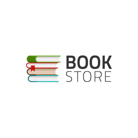 bookstore: Bookstore vector symbol isolated on white background, pile of books Illustration