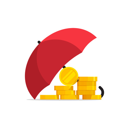 financial savings: Money under umbrella vector illustration isolated on white background, concept of money protection, financial savings insurance, secure business economy, red umbrella golden coins money flat icon