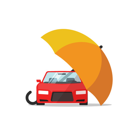 umbrella cartoon: Car insurance vector concept, auto protection, flat cartoon car protected with umbrella illustration, automobile safety icon isolated on white background