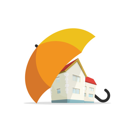 House insurance concept, residential home real estate protection, flat cartoon house protected under umbrella, home safety security shield vector illustration isolated on white