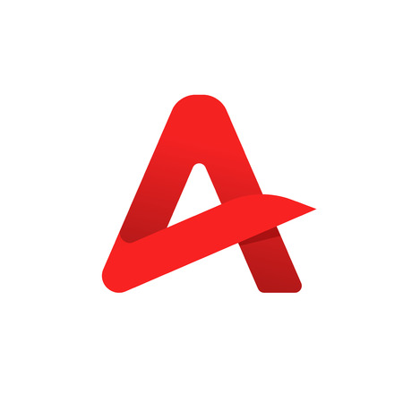 Letter a vector symbol isolated on white background, flat red geometric rounded letter with gradient shadow, creative brand sign