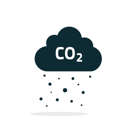 co2 emissions cloud vector icon, flat cartoon black carbon dioxide emits cloud, smog pollution concept, smoke pollutant damage, contamination rain bubbles, combustion products isolated symbol