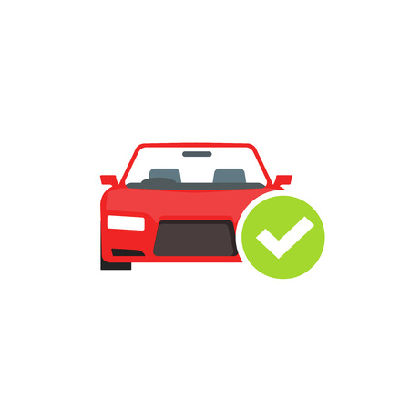 repaired: Red car with green checkmark icon, concept of car check test passed, auto diagnostic service vector emblem isolated on white background Illustration