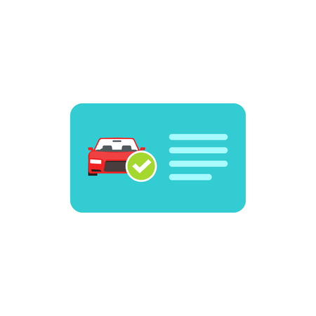 driver license: Driver license vector icon isolated on white, blue flat card with car and green checkmark illustration