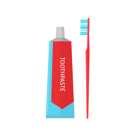 bathroom sign: Toothpaste tube and toothbrush isolated on white background vector illustration, flat cartoon icon