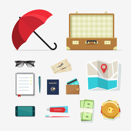 old suitcase: Set of travel things vector icons, required baggage items to travel with, travel packing, planning summer vacation, tourism and journey adventure flat cartoon objects isolated on white background