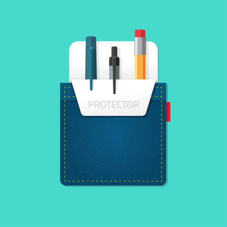 Pocket jeans with denim pocket protector with pens, pencils flat modern symbol, abstract bag, stationery shop emblem concept, office supplies, design vector illustration isolated on green background Stock Illustratie