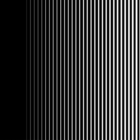 Gradient lines seamless background vector pattern, vertical black stripes, parallel white lines from thick to thin Illustration