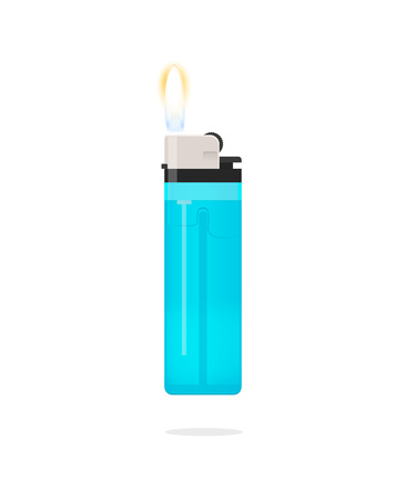 flint: Blue lighter with flame vector icon isolated on white bakcgruond