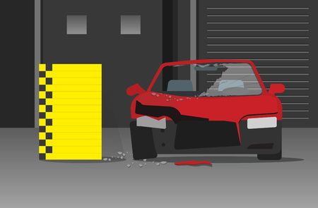 car wreck: Crashed car vecot illustration on dark garage or night street, concept of crash test
