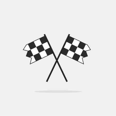 racing checkered flag crossed: Finish flags vector icon isolated on white background, two chequered finishing racing flags