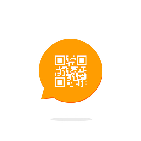 Qr code icon in orange speech bubble, concept of communication technology, flat style modern button design vector illustration isolated on white background