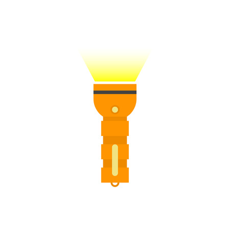 pocket flashlight: Flashlight isolated vector icon, flat orange pocket flashlight with yellow beam illustration on white background