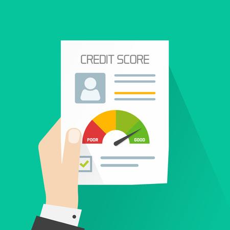 La puntuación de crédito concepto de documento de vector, banquero de la mano que sostiene el papel gráfico de hoja de información sobre su puntuación de crédito personal, persona formulario de informe de datos, buen índice de la historia de crédito y sello aprobado aisladas