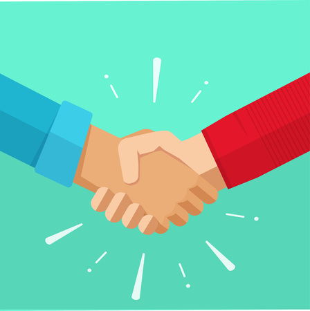 Shaking hands business vector illustration with abstract rays, symbol of success deal, happy partnership, greeting shake, casual handshaking agreement flat sign design isolated on green background