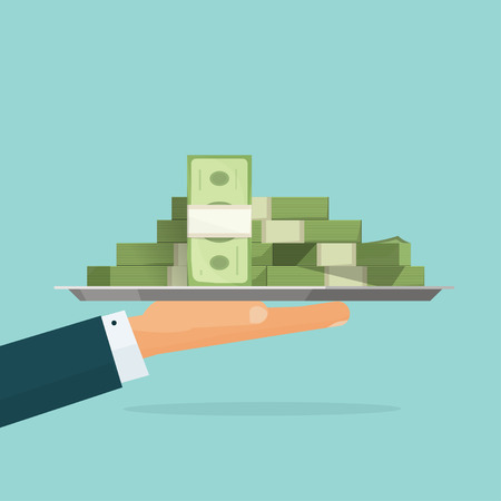 Biznes człowiek ręka trzyma tacę z wielki stos pieniędzy wektora ilustracji symbol, gotówka, kredyt dawania pakietu kredytowego, hypothec, hipoteka, wypłaty wynagrodzenia, nowoczesnego projektowania samodzielnie, płaski styl emblemat
