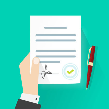 legal office: Business man hand holding contract agreement vector illustration, signed treaty paper with pen, legal document symbol with stamp, documentation flat sign modern design isolated on green background
