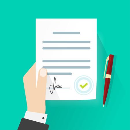 hombre de negocios ilustración mano que sujeta contrato de acuerdo vectorial, papel tratado firmado con la pluma, símbolo documento legal con el sello, diseño moderno muestra documentación plana aislada en el fondo verde Ilustración de vector
