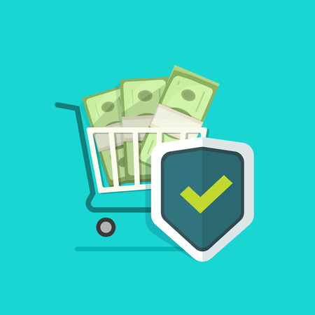 secure payment: Shopping cart, pile of money, shield vector illustration, concept of ecommerce payment protection, protected cash, secure payment online, financial safe, wealth insurance, banking security Illustration