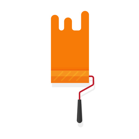 paintroller: Paint roller with paint stroke vector isolated on white background, flat orange paintroller illustration