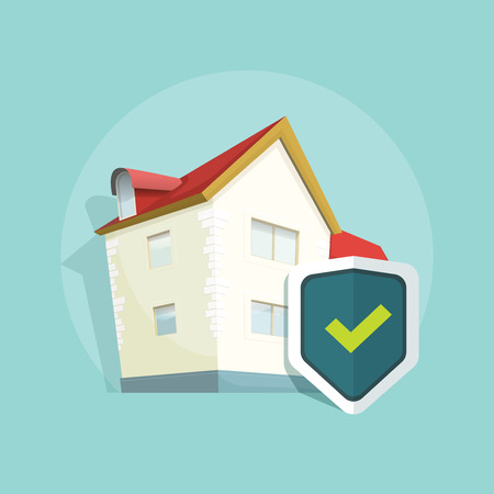 protected: Home insurance vector symbol, real estate insurance, concept of property protection, flat house protected with shield illustration on blue background