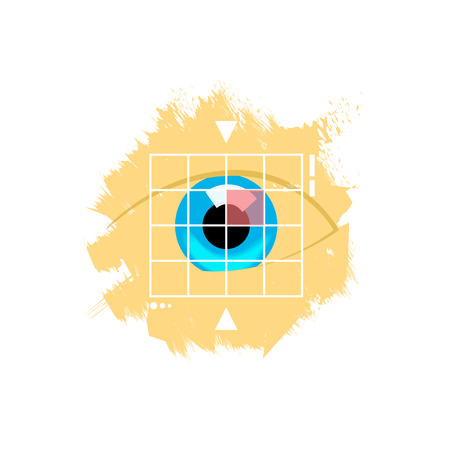 retina display: Eye retina scan vector emblem illustration, virtual verification identity concept, scanning medical test, recognition innovation, identification, modern contemporary technology isolated on white Illustration