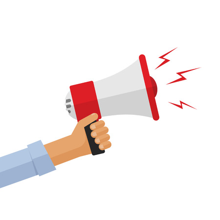 loud speaker: Casual hand holding bullhorn vector illustration, concept of news announcement, loud shout, shouting people, advertisement speech symbol, broadcasting flat modern design isolated on white background