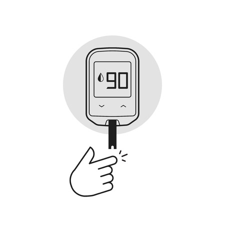 glucose: Glucometer vector illustration isolated on white, flat line outline diabetes blood glucose test glucometer measurement equipment, black white style Illustration