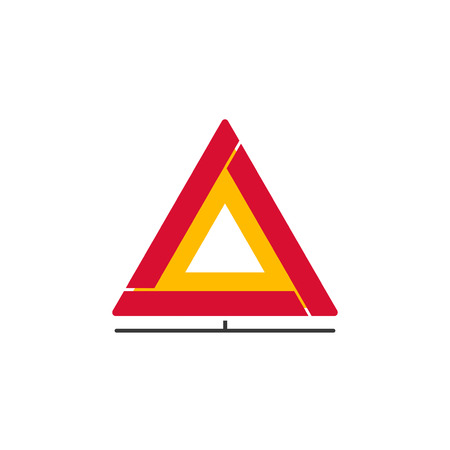 red emergency road sign triangle and warning car accident road rh 123rf com red triangle logo name brand red triangle logo name