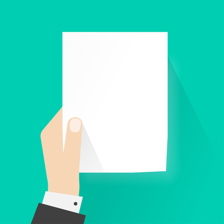 cogidos de la mano: que sostiene el papel maqueta ilustración hombre de negocios mano vacía plantilla vector, a4 lista hoja en blanco sin texto, el concepto de la atención, marco del aviso del diseño de estilo plano aislado en verde